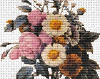 Floral Cross Stitch Kit (without background), Flowers Cross Stitch, Embroidery Kit, Art Cross Stitch, Pierre Joseph Redoute