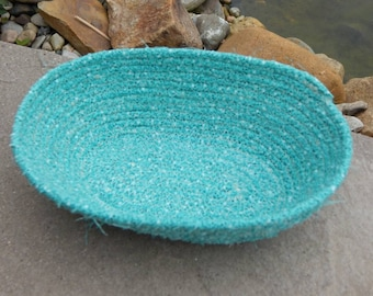 Blue Basket; Cute Storage Solutions; Handmade Fabric Bowl; Wrapped Fabric Basket; Teal Bowl; Organizing Craft Supplies