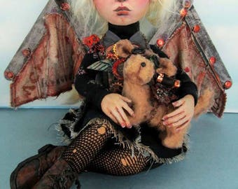 Doll Making Class, Wisteria and Dog , Steampunk Art Doll and Animal Project by Susan Barmore (PDF Download) - SE507E