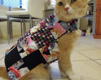 Pet clothing for cats and small dogs: Black and pink cotton quilted dress (cat)