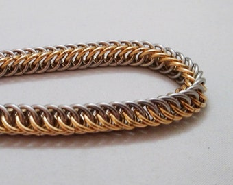 Handmade Chainmail Bracelet 16g Half Persian Stainless Steel & Jeweler's Brass Maille Jewelry