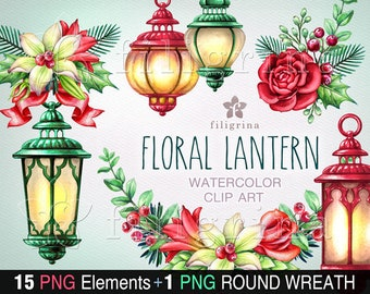 Floral Lantern WATERCOLOR clip art. PNG elements, Christmas decor, white lily flower, red rose, green leaves, noel nature. Read how to use