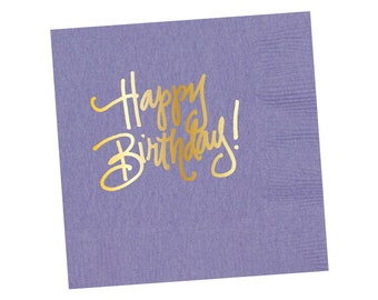 Napkins | Happy Birthday - Lavender (in stock)