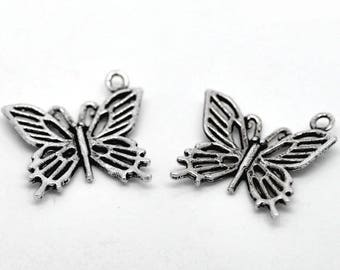 SET of 3 Butterfly (33) silver butterfly pendant charms