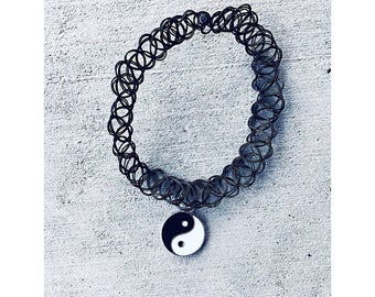 Black Tattoo Choker with Yin Yang Charm ~ Awesome Accessories for Adults, Teens, and Tweens!!!