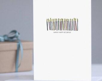 Many Happy Returns Birthday Card: Celebration Card, Birthday for Her, Keepsake Card, Adult Card, Typography Card, Illustrated Birthday Card