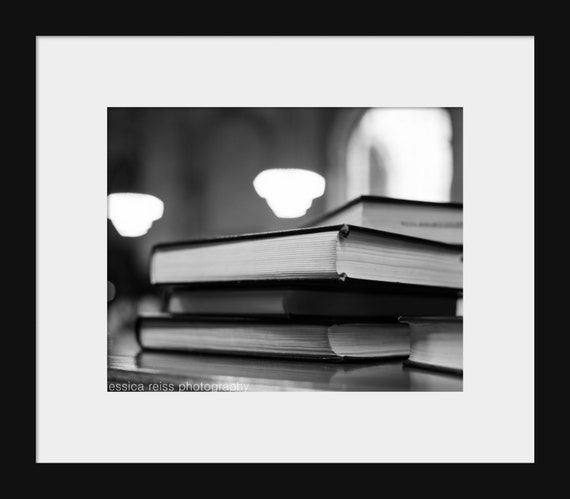 Black And White Book Stack Photography New York Public Library Wall Art  Book Lovers Home Decor Modern Industrial Art Print Study Library NYC