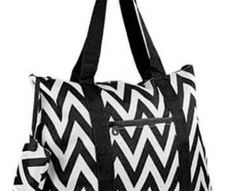 Personalized Tote Bag-BLACK ChevronTote Bag  Beach Tote  Diaper Bag