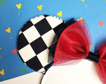 Black and White Checkered Disney Minnie Mouse (Mickey Mouse) Ears Headband