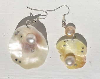 Oyster Shell and Pearl Drop Earrings