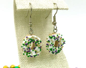 King Cake / Mardi Gras Earrings / New Orleans / Louisiana / NOLA / Baton Rouge / Miniature / Food Jewelry /Polymer Clay