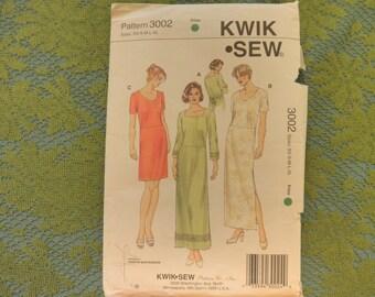 Womens Misses DRESSES, DRESS, By Kerstin Martensson... Sz xs- s-m-L-XL-...Uncut  Kwik Sew 3002 Sewing Pattern