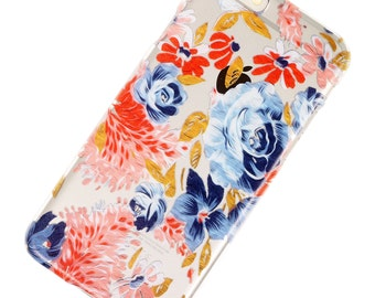 Watercolor Blue Pink Pastel Floral, iPhone Case, Flowers, Transparent, Clear Phone Case, iPhone 6, iphone 7, iphone 6 plus, iphone 7 plus