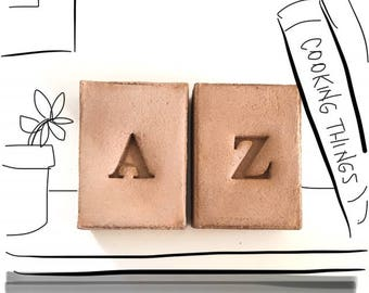 Custom Concrete Initial Bookends, Set of 2