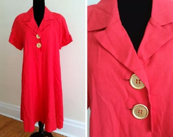 red linen dress 50s house dress vintage a-line dress short sleeve red dress with gold buttons and pockets dress xl