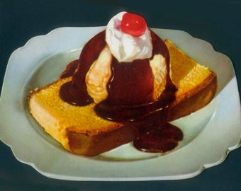 1950's Diner Sign - Diecut - Sponge Cake with Ice Cream and Chocolate Sauce - Retro - Vintage