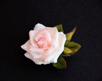 Pink rose brooch polymer clay flower, Floral brooch, wedding boutonniere, porcelain brooch, Mothers day gift, Bridal flower