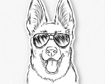 Brutus the German Shepherd Decal Sticker, Gifts For Dog Owner, German Shepherd Art, German Shepherd Love, Dog Lover Art, Dressed Dog