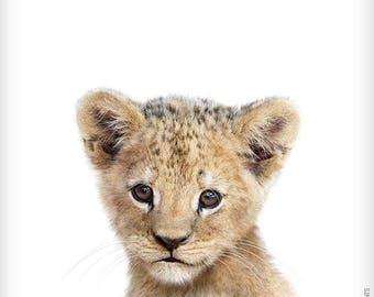 Lion print, Safari animal prints, Baby animal art, The Crown Prints, Nursery decor, Nursery animals, Baby room art, Nursery prints