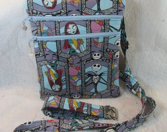 Nightmare Before Christmas Theme Fabric Crossbody Bag- FREE SHIPPING