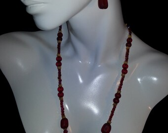 Red Recycled Seaglass Necklace Set