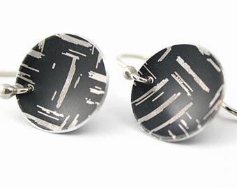 Crosshatch Disc Earrings, Black, Anodized Aluminum, Handmade Silver Earwires