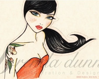 Pinup girl - 'Emily'  Illustration by Brenda Dunn from Portland, OR