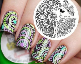 Arabesque Patterns Nail Stamping Plates Peony Image Nail Art Stamp Template Image Plate BP-48