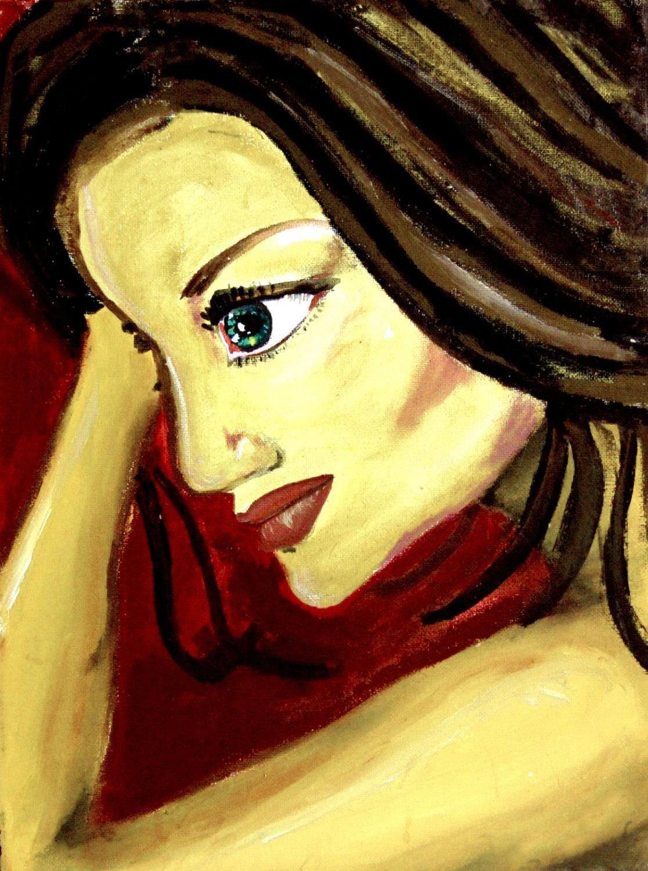 Woman portrait rich red color colorful beautiful woman