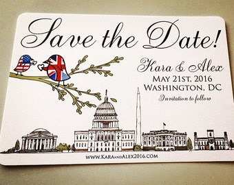 British American Lovebird City Flag Shower Invites/Save The Dates