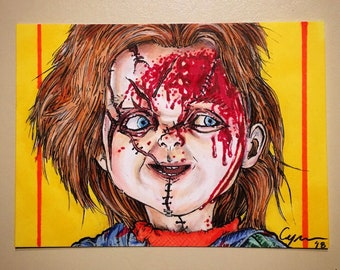 Chucky from Child's Play Original Artist Trading Card FREE SHIPPING