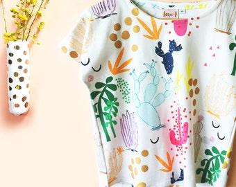 Tropical Cactus Garden Garden 100% organic cotton jersey ladies sleeve top