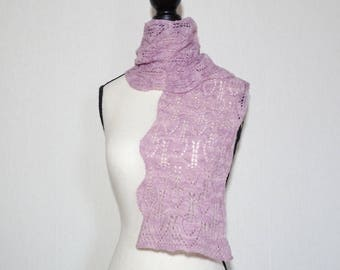 Women's hand knit scarf, pink scarf, pink merino wool scarf, pink lace scarf, all seasons scarf, gift for her