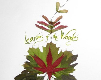 Leaves of the Woods--print of real leaves and calligraphy