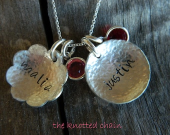 Sterling Silver Handstamped Necklace Cupped/Hammered Flower and Disc with Swarovski Birthstone