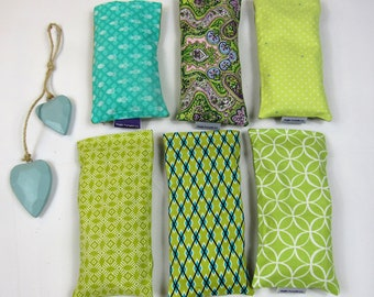 Lavender eye pillow, removable, washable cover - greens, ideal for yoga and meditation, great gift, made in the UK - free UK postage