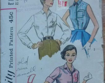 Vintage sewing Pattern. Simplicity 2195 .blouse pattern
