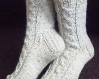 Cream-beige hand knit socks,sheep,thick,cable design bed socks,slippers,UK 4-12,US 5-13,EU 35-47