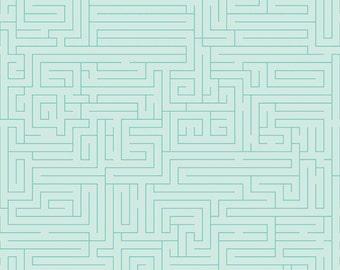 Fun & Games Maze Aqua by Lori Whitlock for Riley Blake, 1/2 yard