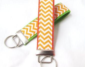 Wristlet Key Fob Key Chain - Mini Orange & White Chevron Zig Zag Stripe - Fabric Keychain