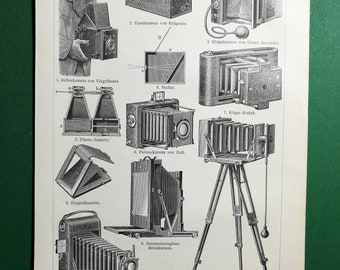 Photographic Cameras, original old print from an old german book, 1895