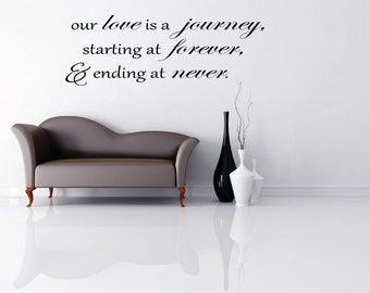 Our Love is a Journey Quote Vinyl Wall Art, home decor,