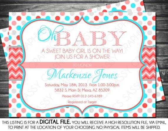 Girl Baby Shower Invitation Polka Dot Chevron Coral