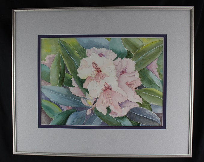Fine Art, Watercolor Painting Floral  Rhododendrons Joan Crossan Wall Decor