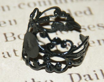 Ring filigree lace metal painted black 18mm