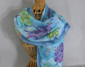"""Silk Scarf """"Turquoise and Purple Grapes"""", Hand Painted Scarf, Grape Scarf, Turquoise Scarf"""