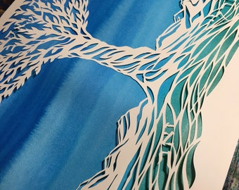 Peaceful Mountains papercut ketubah - reserved