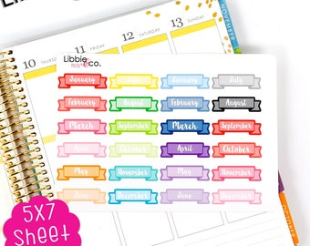 MC81 Rainbow Monthly Banners! Set of 24 Perfect for the Erin Condren Planner!!!