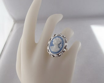 Blue Cameo Adjustable Costume Jewelry Ring