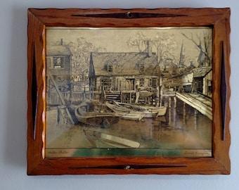 """Vintage Lionel Barrymore """"Harbor Shelter"""" gold etched"""